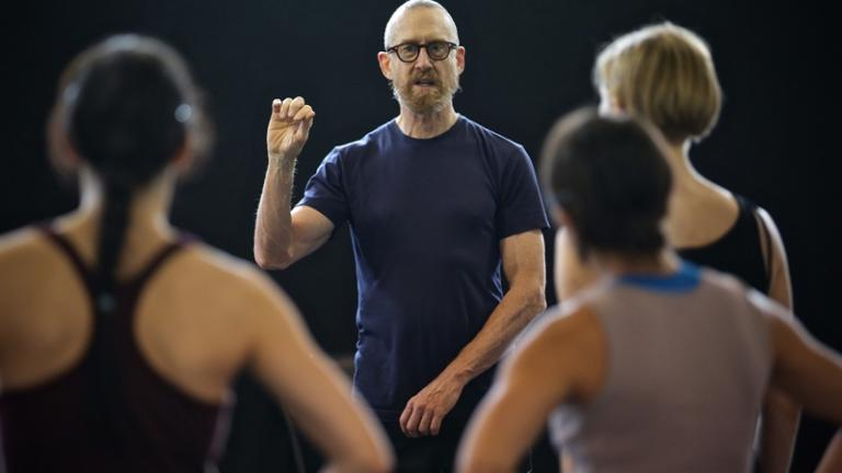William Forsythe rehearses N.N.N.N. with Hubbard Street Dancers Ana Lopez, Alicia Delgadillo, and Emilie Leriche (Photo / Todd Rosenberg)