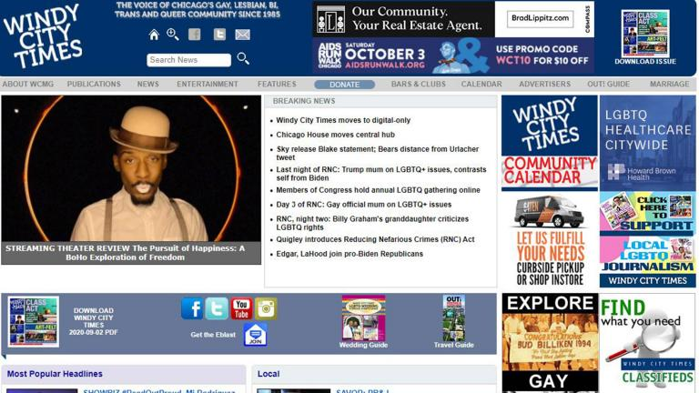 A screenshot shows the homepage of the Windy City Times website on Wednesday, Sept. 9, 2020.