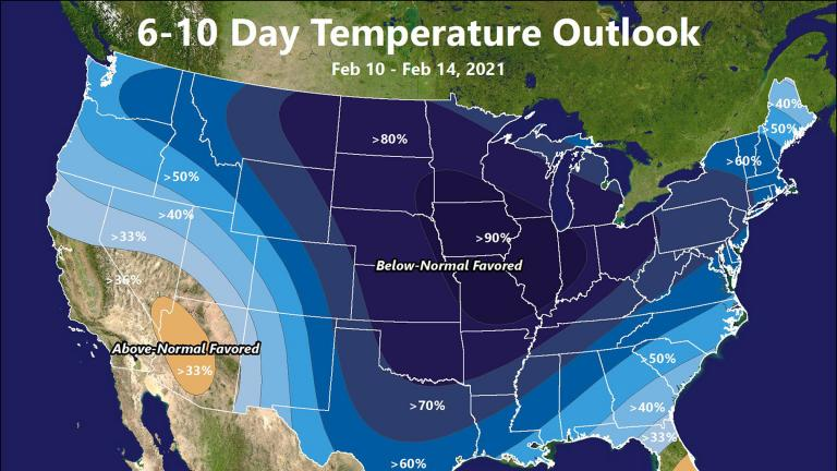 This illustration made available by the National Weather Service on Thursday, Feb. 4, 2021 shows a Feb. 10-14 forecast for below-normal temperatures for large parts of the United States. (National Weather Service via AP)