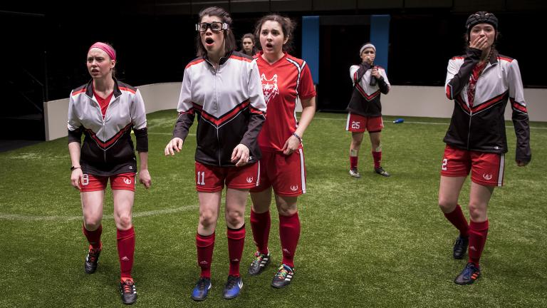 "Cydney Moody (No. 8), Sarah Price (No. 11), Natalie Joyce (No. 7), Mary Tilden (No. 13), Isa Arciniegas (No. 25) and Taylor Blim in ""The Wolves"" at Goodman Theatre. (Credit: Liz Lauren)"