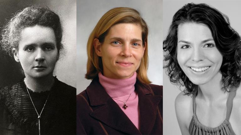 From left: Marie Curie, Christina Ciecierski and Julie Des Jardins (Courtesy Northeastern Illinois University)
