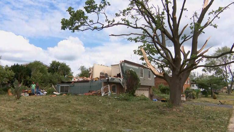 A tornado downed trees and damaged homes in suburban Woodridge late Sunday, June 20, 2021. A second tornado hit Plainfield, according to officials. (WTTW News)