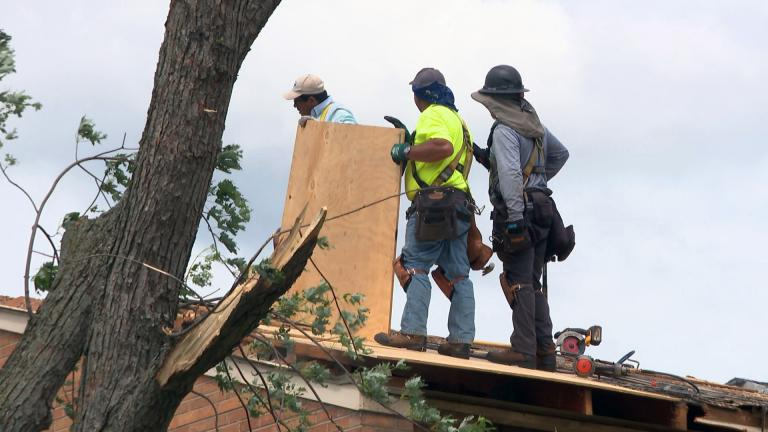 Cleanup efforts are underway Monday, June 21, 2021 in suburban Woodridge following a tornado and severe storms Sunday night. (WTTW News)