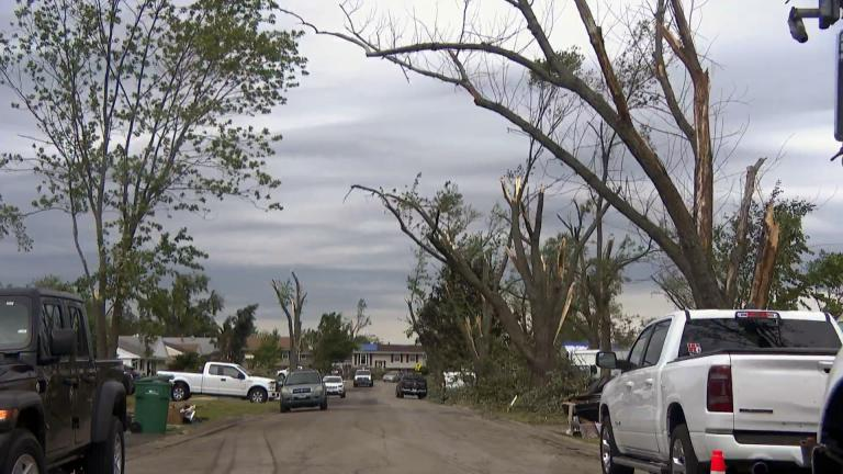Evidence of a tornado that tore through suburban Woodridge is visible June 24, 2021, just four days after the EF3 twister touched down. (WTTW News)