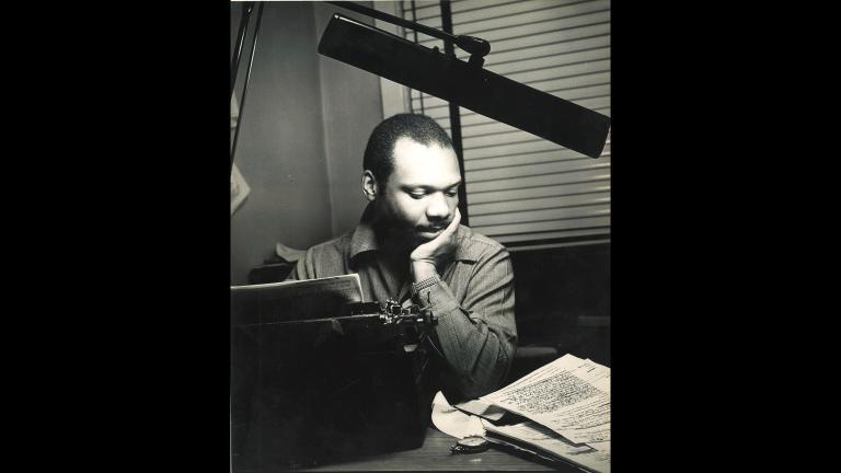 """Richard Durham working on series """"Destination Freedom,"""" 1949. (Courtesy Clarice Durham)"""