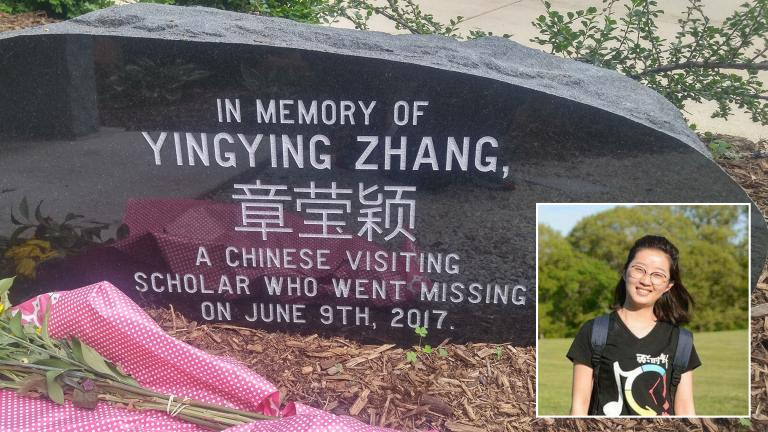 A memorial stone engraved with Yingying Zhang's name in both English and Chinese is adorned with flowers on the campus of the University of Illinois at Urbana-Champaign on Friday, June 7, 2019. Zhang was last seen alive at a nearby bus stop on Friday, June 9, 2017. Inset: Yingying Zhang. (Memorial photo by Mark Van Moer. Zhang photo courtesy University of Illinois Police Department)