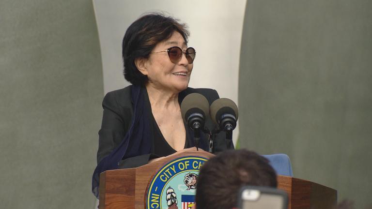 "Yoko Ono unveils ""Sky Landing"" in Chicago's Jackson Park on Monday. (Chicago Tonight)"