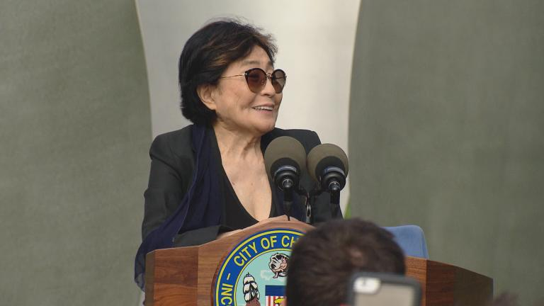 "Yoko Ono unveils ""Sky Landing"" in Chicago's Jackson Park on Monday. (Chicago Tonight)"