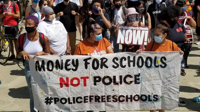 Youth activists organized a peaceful march to Mayor Lori Lightfoot's home on Aug. 13, 2020 to demand the removal of resource officers from Chicago Public Schools. (Matt Masterson / WTTW News)