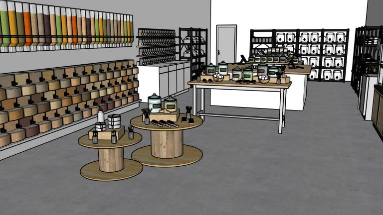 Rendering of the proposed Chicago zero-waste marketplace called Zaste. (Courtesy of Zaste)