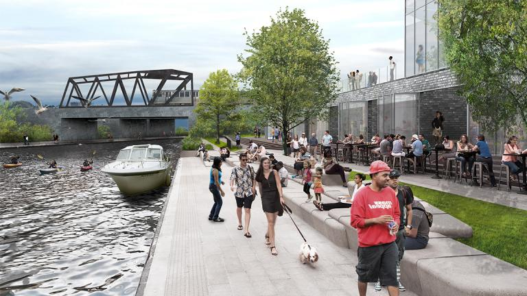 A rendering based on the new Our Great Rivers project shows pedestrians at the Ashland CTA Orange Line station accessing a water taxi stop along the Chicago River. (Metropolitan Planning Council)