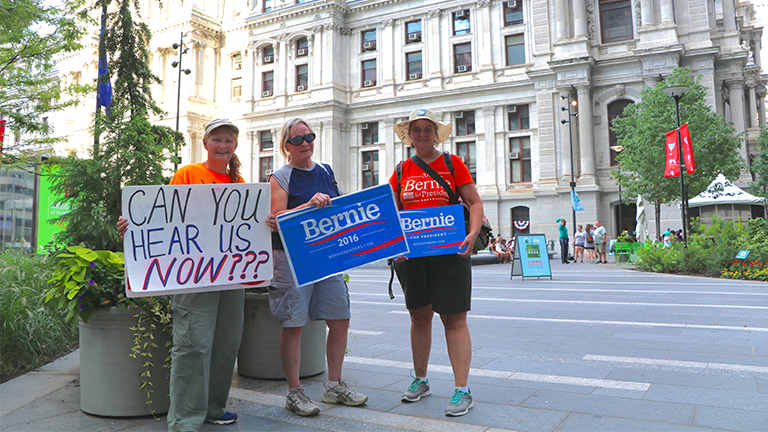 Kimmie Knapp, Penny Neiman and Kristie Sollins travelled from southern Indiana to Philadelphia to support Bernie Sanders at the 2016 Democratic National Convention. (Evan Garcia / Chicago Tonight)