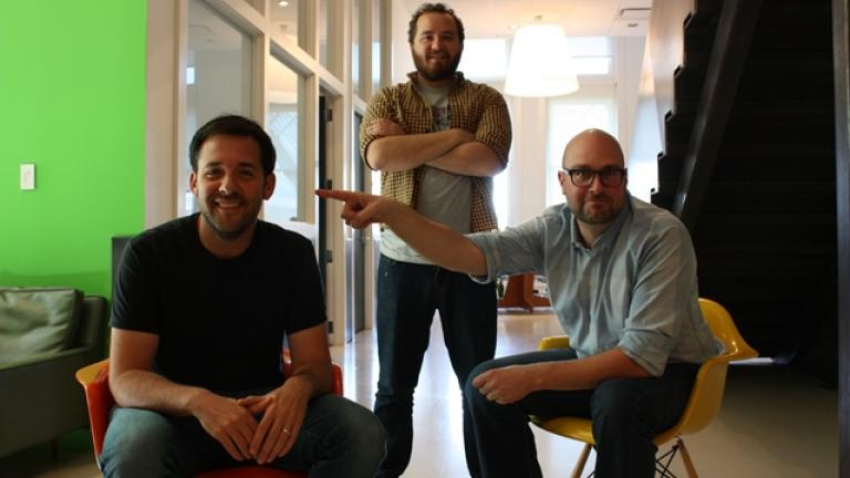 "Cap Gun Collective Executive Producer Matt Abramson, Cap Gun Producer PJ Fishwick, and ""Teachers"" co-creator Matt Miller (Photo / Chloe Riley)"