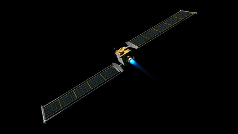 Illustration of the DART spacecraft with the Roll Out Solar Arrays (ROSA) extended. Each of the two ROSA arrays in 8.6 meters by 2.3 meters. (Credit: NASA)
