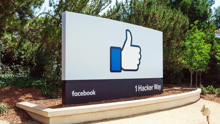 The sign outside the main entrance to Facebook HQ in Menlo Park, California. (Photo courtesy Facebook)