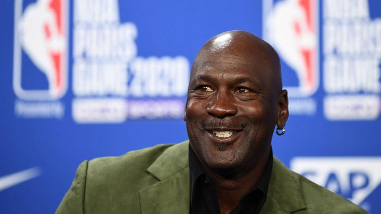 Michael Jordan addresses reporters in Paris on January 24, 2020. (Franck Fife / AFP / Getty Images)