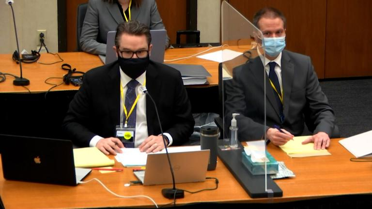 Crucial testimony is expected April 9, 2021 when the medical examiner who performed George Floyd's autopsy takes the stand. Defense attorney Eric Nelson, left, and defendant former Minneapolis police Officer Derek Chauvin are seen during the trial proceedings on April 8, 2021. (CNN Pool)