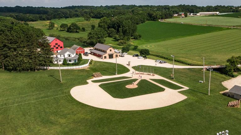 An aerial photo taken with a drone shows the baseball field at the Field of Dreams movie site in Dyersville, Iowa. (Tannen Maury / EPA-EFE / Shutterstock)