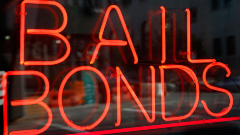 FILE - This file photo shows a sign advertising a bail bonds business in the Brooklyn borough of New York. (Kathy Willens / AP)
