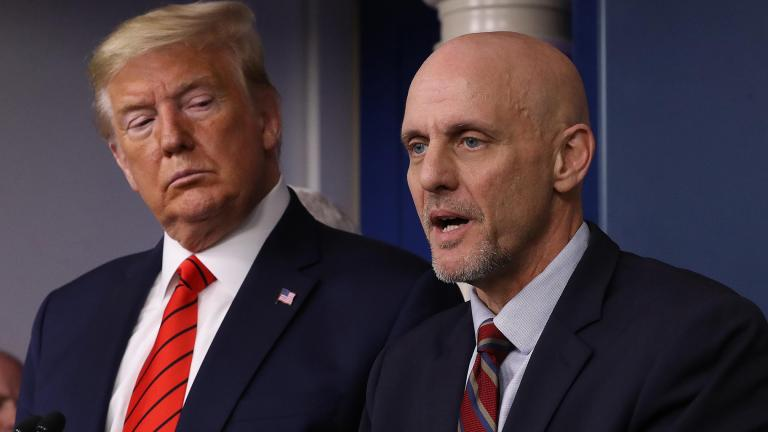 President Donald Trump accused, without providing any evidence, the US Food and Drug Administration of deliberately delaying coronavirus vaccine trials, pressuring FDA Commissioner Stephen Hahn. (Chip Somodevilla / Getty Images)