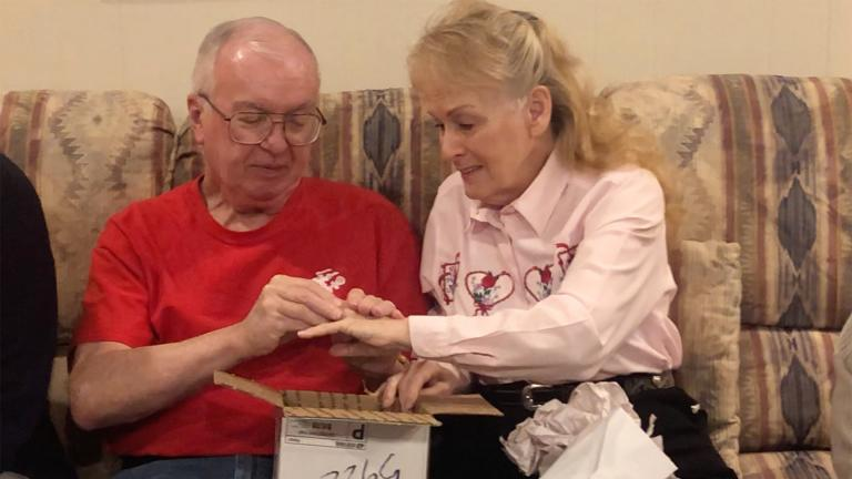 Robert and Karen Autenrieth on Valentine's Day with the wedding ring. (Courtesy Autenrieth family)