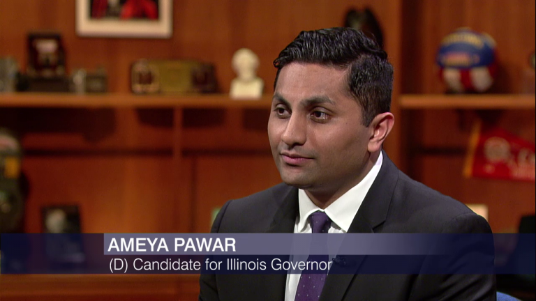 Ameya Pawar appears on Chicago Tonight in April.