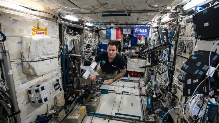 """Astronaut Thomas Pesquet worked with artist Eduardo Kac to create """"Inner Telescope,"""" a piece of artwork that is currently aboard a space station. (Courtesy of Eduardo Kac)"""