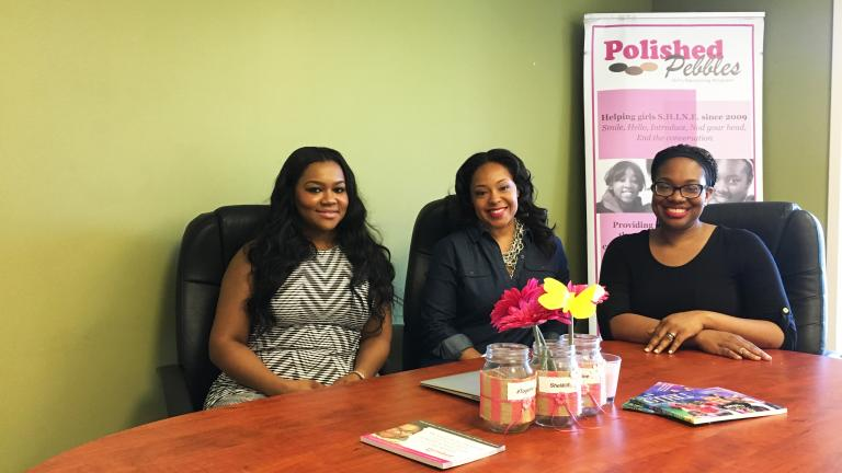 Brittney Shepherd, left, Kelly Fair, center, and Tara Campbell, right, of mentoring program Polished Pebbles. (Maya Miller / Chicago Tonight)