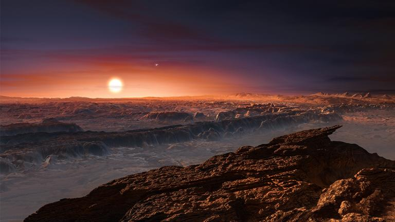 An artist's impression of what the surface of the planet Proxima b might look like. (M. Kornmesser / European Southern Observatory)