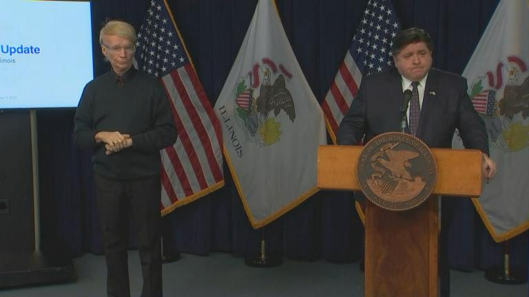 Gov. J.B. Pritzker speaks during his daily COVID-19 briefing on Dec. 7, 2020. (WTTW News)