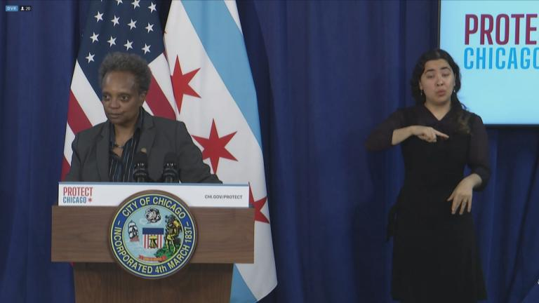 Mayor Lori Lightfoot gives an update on COVID-19 during a press conference Wednesday, Nov. 25, 2020. (WTTW News)