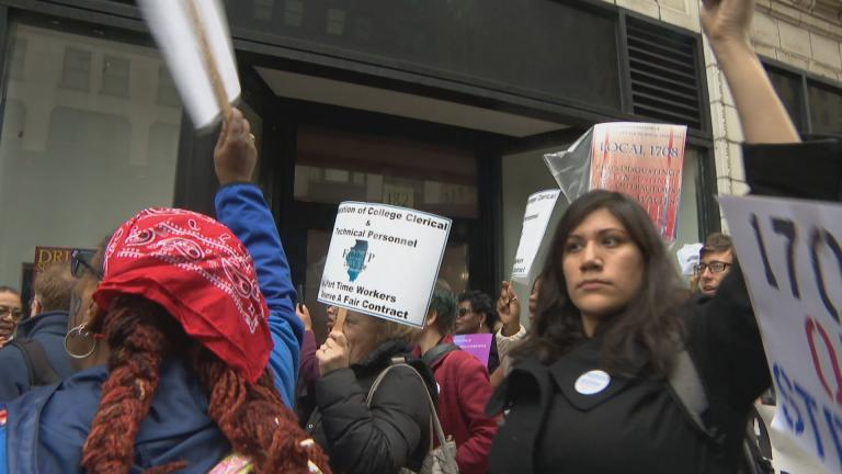 City Colleges of Chicago support staff announced a new contract on Thursday, May 2, 2019. Agreement was reached one day after the employees went on strike and held a rally downtown. (WTTW News)