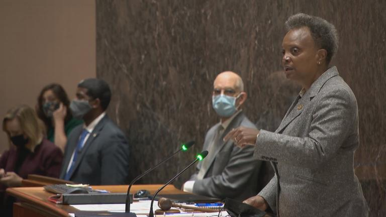 Mayor Lori Lightfoot speaks Monday, Oct. 25, 2021 at the Chicago City Council meeting. (WTTW News)