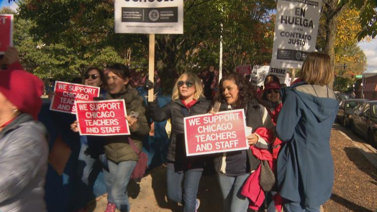 Teachers and support staff on the picket line Thursday, Oct. 17, 2019 in front of Little Village Academy. (WTTW News)