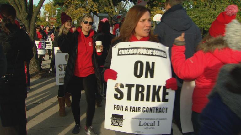Chicago teachers marched Friday on the second day of the CTU's strike. (WTTW News)
