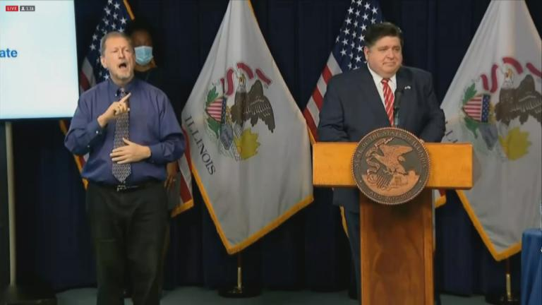 Gov. J.B. Pritzker gives his daily COVID-19 press briefing on Thursday, Nov. 19, 2020. (WTTW News)