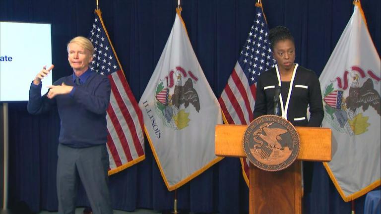 Illinois Department of Public Health Director Dr. Ngozi Ezike speaks during Thursday's press briefing. (WTTW News)