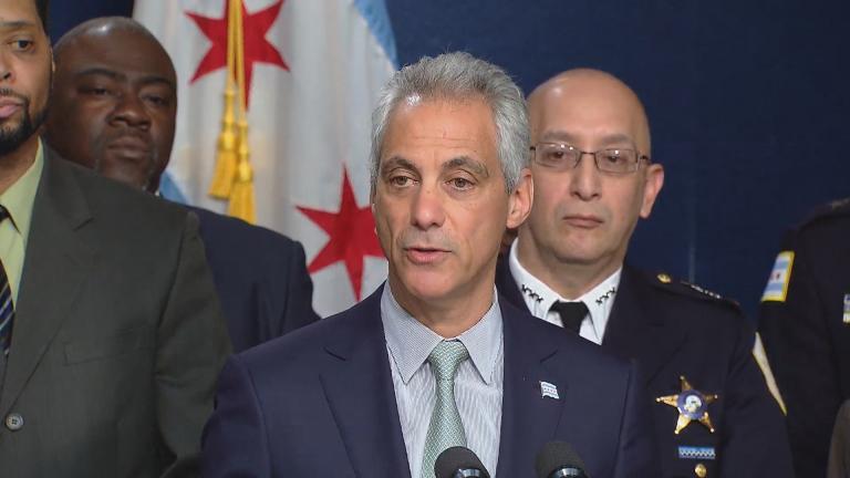 Mayor Rahm Emanuel and interim police Superintendent John Escalante, right, announce police reforms.