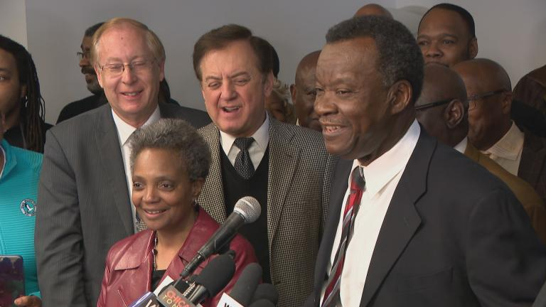 Willie Wilson announces his endorsement of Lori Lightfoot for mayor on March 8, 2019. (Chicago Tonight)