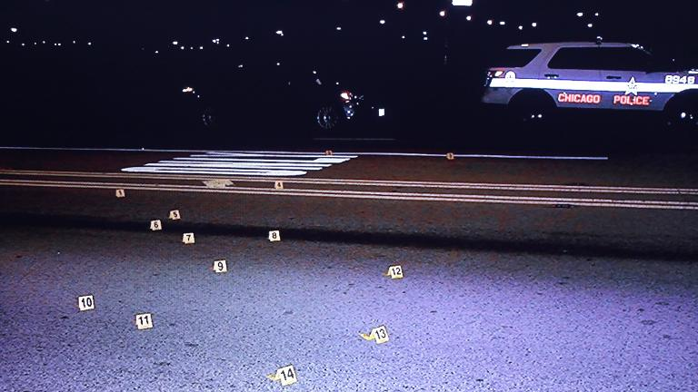Photo of an image taken on Oct. 20, 2014 at the scene where Laquan McDonald was fatally shot. This image was shown on a screen to jurors during Jason Van Dyke's trial for the shooting death of McDonald. (Chicago Police Department)