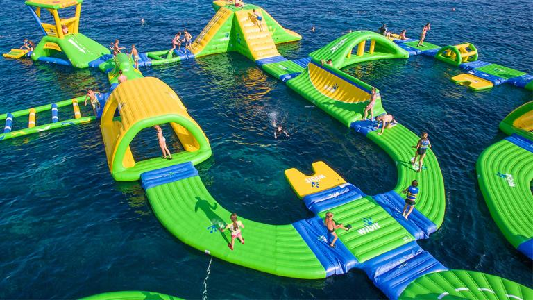 Lake Michigan's first floating water park features a floating trampoline and slides. (Courtesy of Wibit Sports)