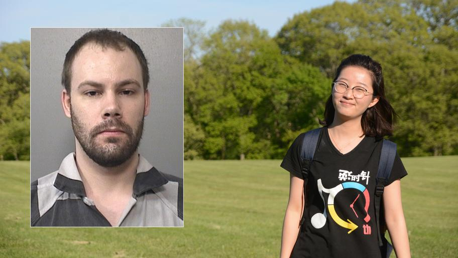 Yingying Zhang disappeared on June 9, 2017. (University of Illinois Police Department). Inset: Brendt Christensen (Macon County Sheriff's Department)