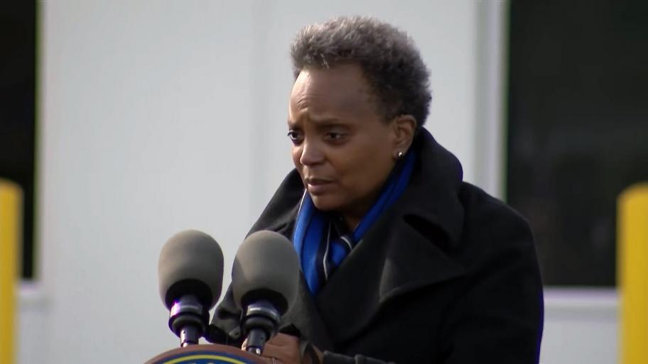 Mayor Lori Lightfoot speaks in Pullman on Wednesday, Oct. 28, 2020. (WTTW News)