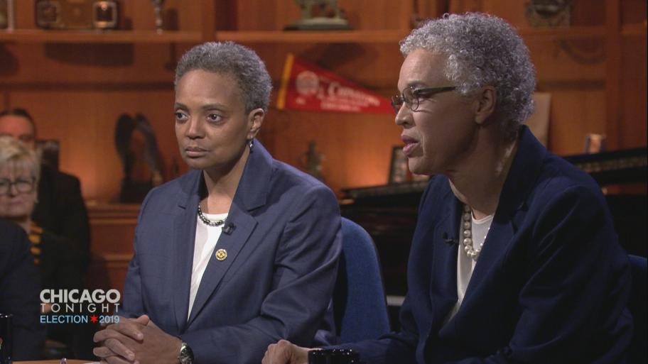 "Mayoral candidates Lori Lightfoot, left, and Toni Preckwinkle appear on ""Chicago Tonight"" on March 21, 2019."