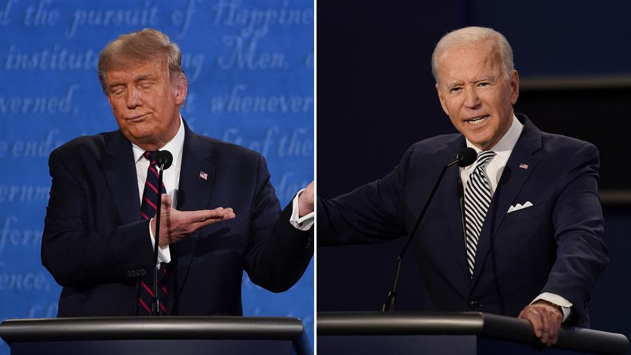 President Donald Trump, left, and former Vice President Joe Biden at the first presidential debate Tuesday, Sept. 29, 2020, at Case Western University and Cleveland Clinic, in Cleveland, Ohio. (AP Photos by Julio Cortez and Patrick Semansky)
