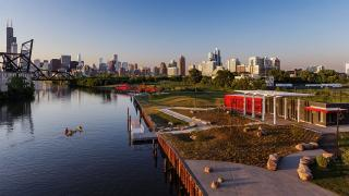Ping Tom Memorial Park at the Chicago River (Courtesy Metropolitan Planning Council)