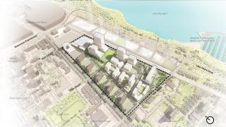 Earlier this year, the Chicago Plan Commission approved a $3.8 billion effort to overhaul the former Michael Reese Hospital site in Bronzeville on the city's South Side. (Rendering courtesy of Skidmore, Owings & Merrill)