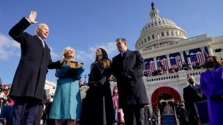 Joe Biden is sworn in as the 46th president of the United States by Chief Justice John Roberts as Jill Biden holds the Bible during the 59th Presidential Inauguration at the U.S. Capitol in Washington, Wednesday, Jan. 20, 2021, as their children Ashley and Hunter watch. (AP Photo / Andrew Harnik, Pool)