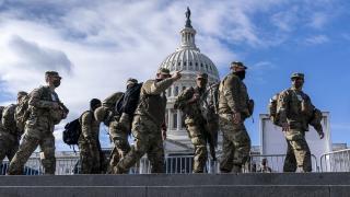 National Guard troops reinforce security around the U.S. Capitol ahead of the inauguration of President-elect Joe Biden and Vice President-elect Kamala Harris, Sunday, Jan. 17, 2021, in Washington. (AP Photo / J. Scott Applewhite)