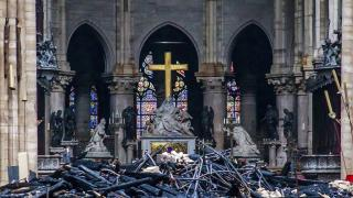 Debris seen inside Notre Dame Cathedral in Paris on Tuesday, April 16, 2019. Firefighters declared success Tuesday in a more than 12-hour battle to extinguish an inferno engulfing Paris' iconic cathedral. (Christophe Petit Tesson, Pool via AP)